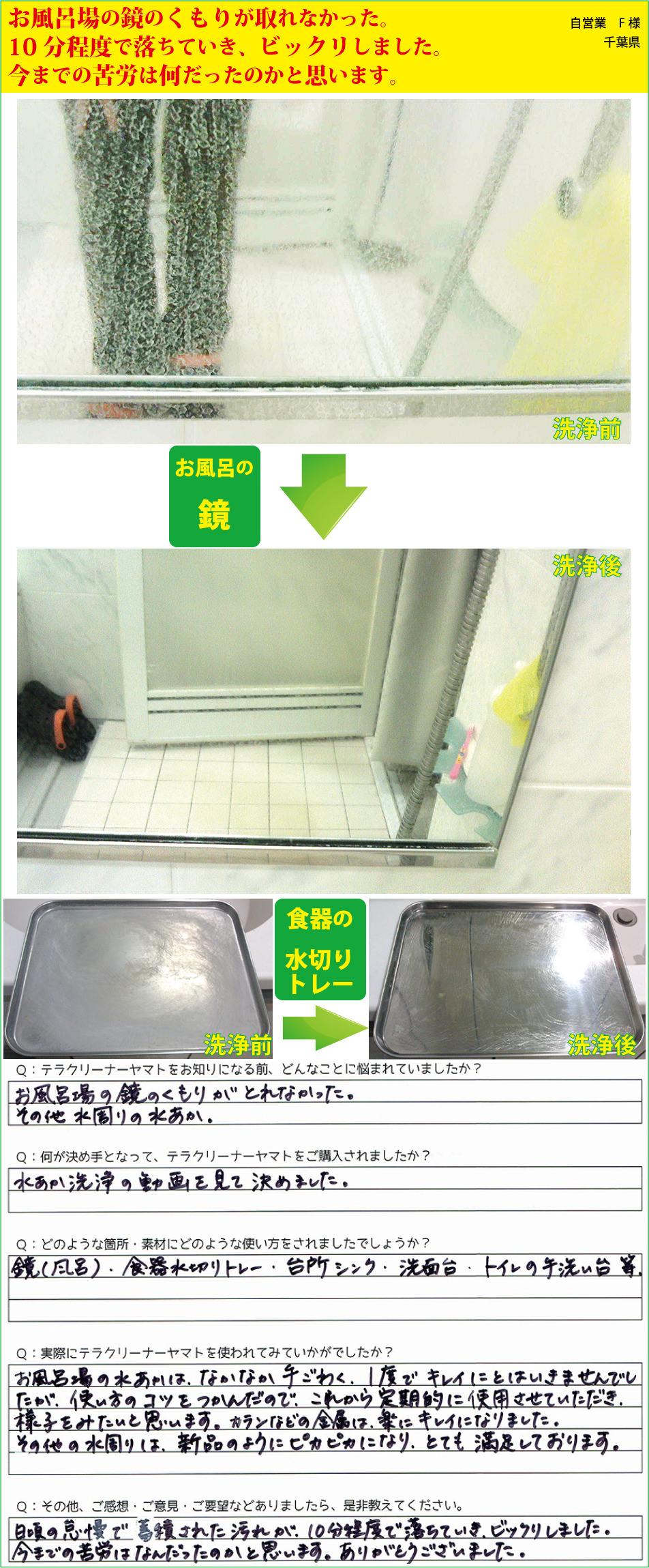 お風呂場の鏡の水垢・ウロコ落とし洗剤